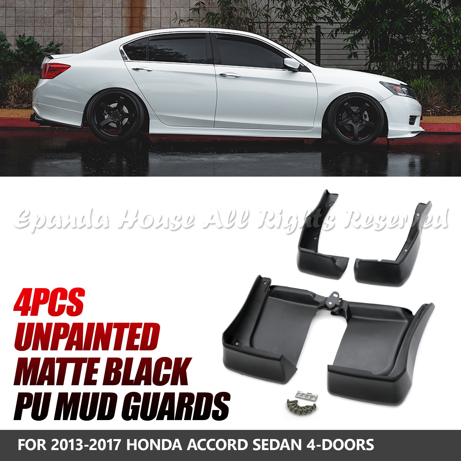 Details About Fit 13 17 Honda Accord Sedan Abs 4pc Jdm Style Mud Guard Splash Flaps Protector