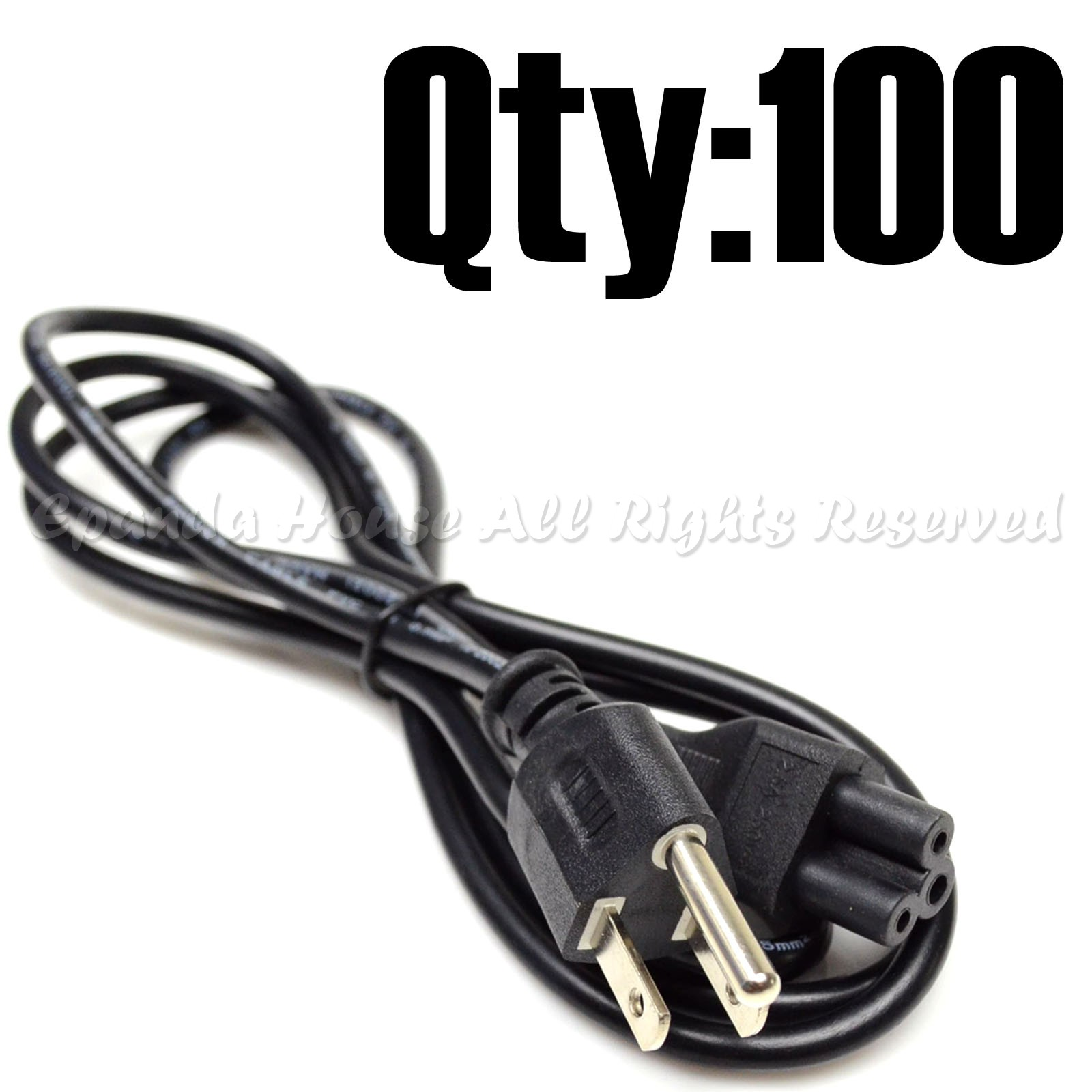 100PC BUNDLE PC COMPUTER//NOTEBOOK AC POWER CORD COMBO 3-PIN 3-PRONG FOR DELL//IBM