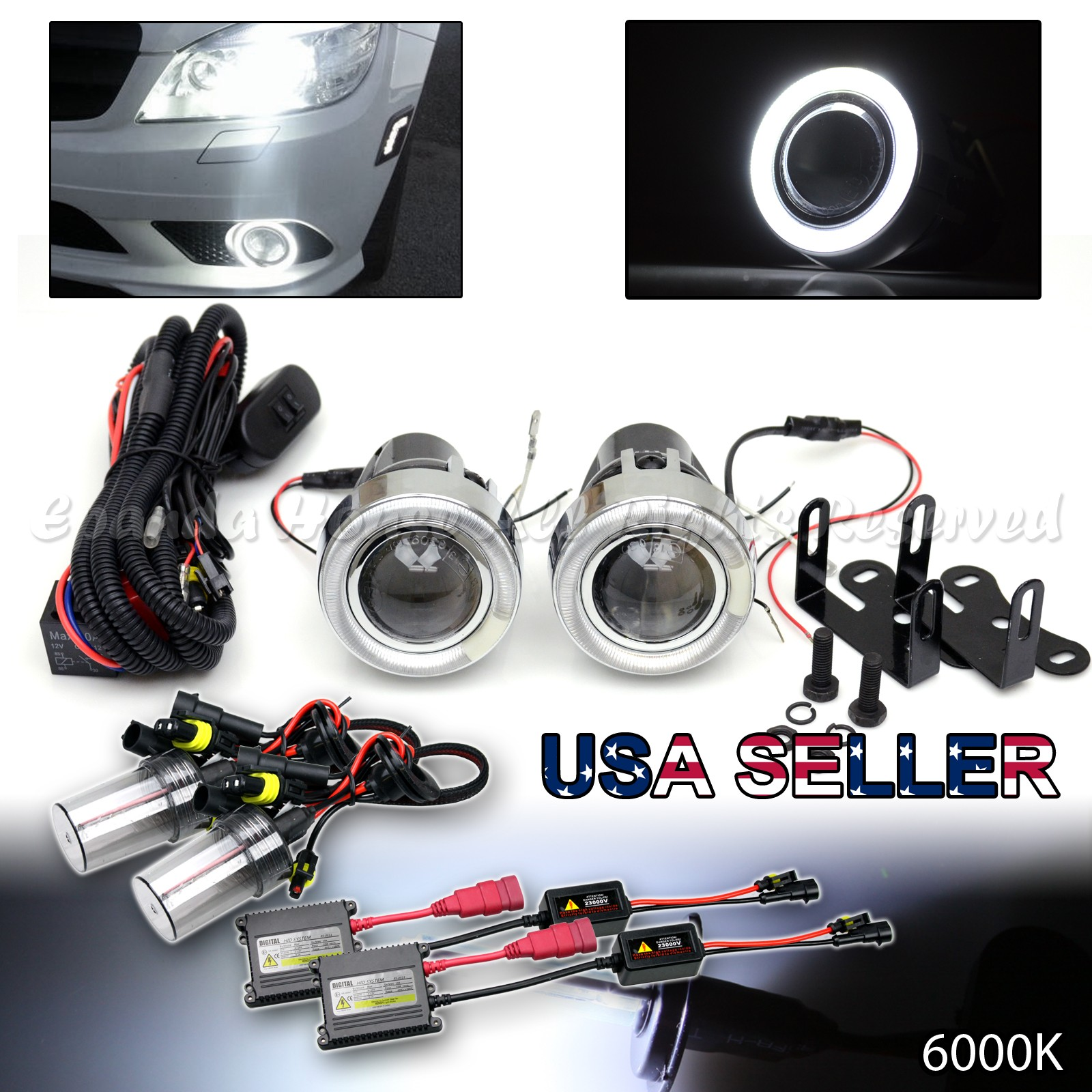 "JDM STYLE 3/"" WHITE HALO PROJECTOR FOG LIGHTS DUAL SWITCH+10000K HID FOR NISSAN"