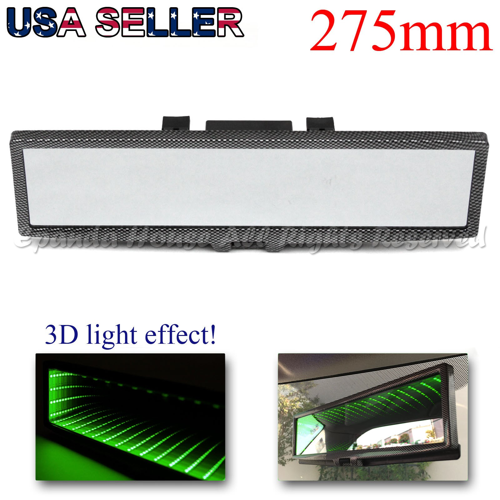FOR JDM CAR 275MM WIDE FLAT INTERIOR CLIP ON REAR VIEW MIRROR WHITE LED 3D LIGHT