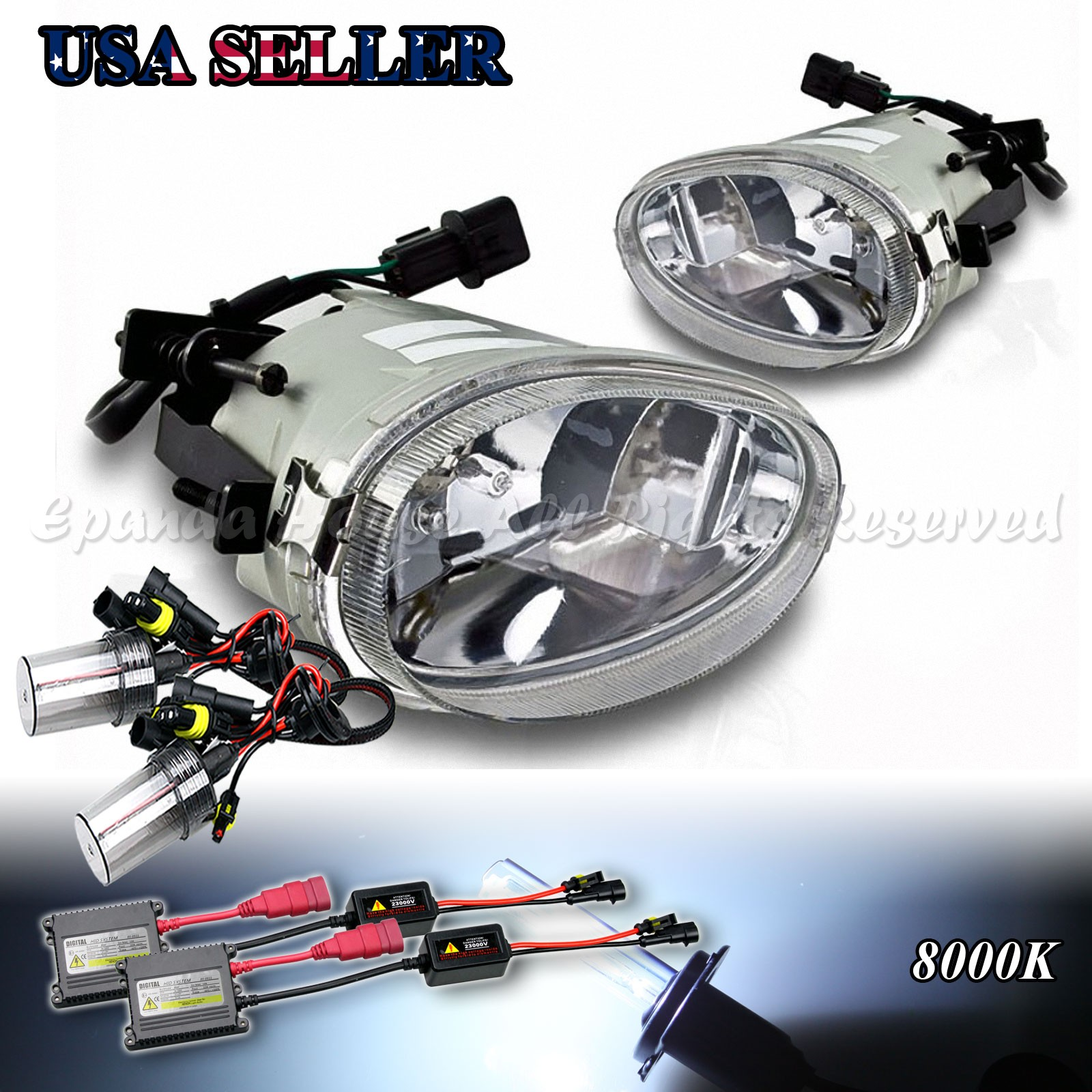 For 98 99 Hyundai Accent Clear Lens Usa Fog Lights Assemblies 8000k Wiring Diagram Free Image Is Loading